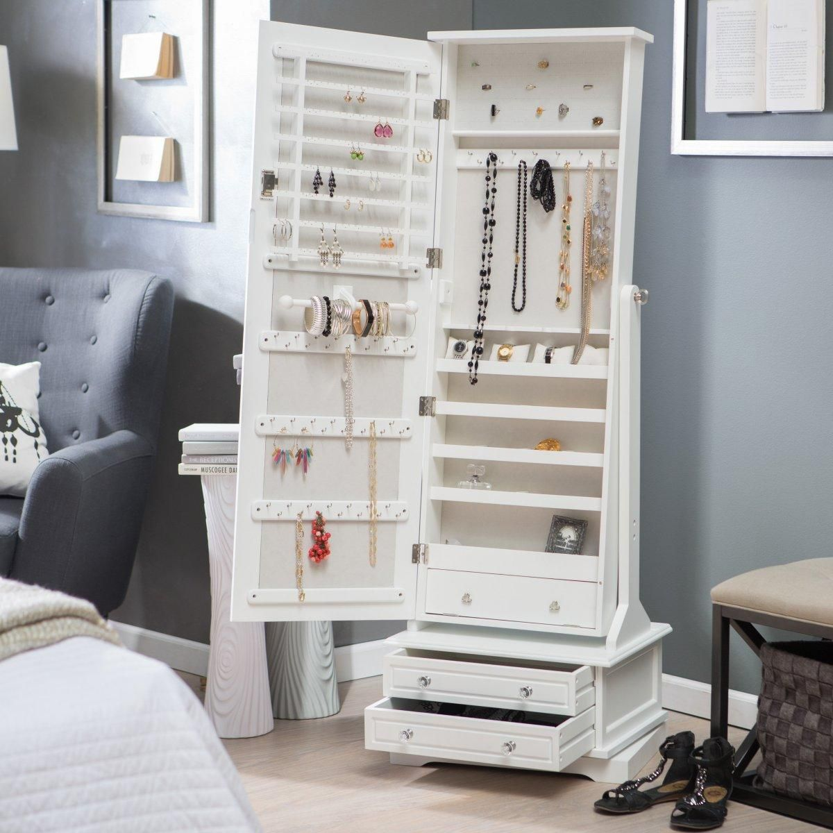 Locking Jewelry Armoire And Adjustable Full Length Mirror Combined