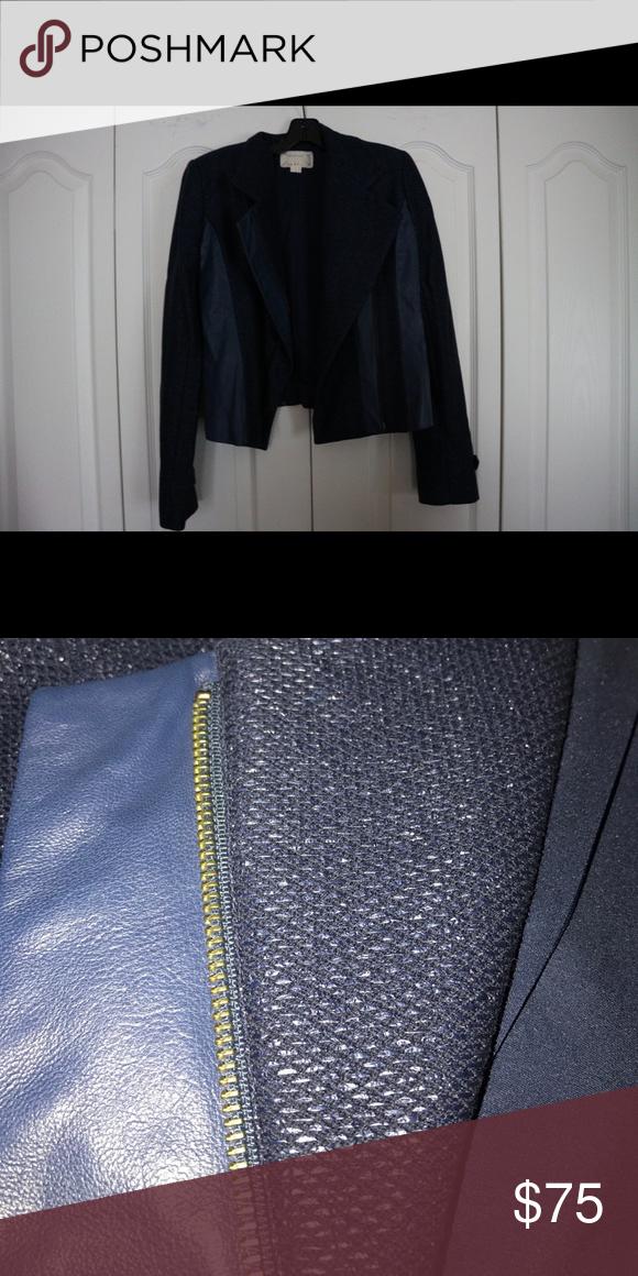 Jacket Navy blue tweed leather jacket Nicole Miller Jackets & Coats
