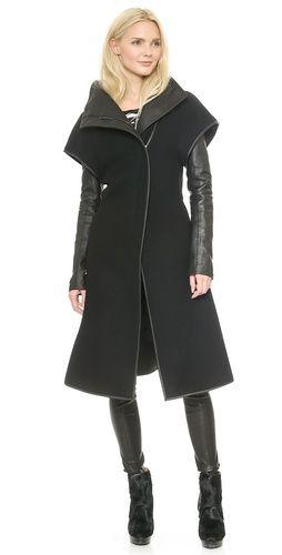 Gareth Pugh Wool & Leather Coat   SHOPBOP