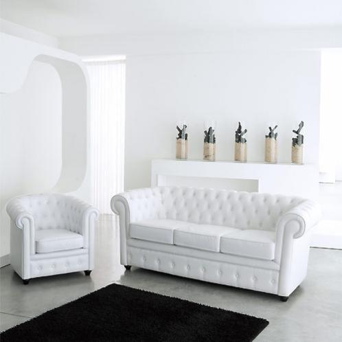 Sofa Capitone De 3 Plazas De Cuero Blanco Con Imagenes Muebles