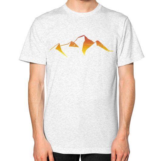 abstract mountain sunset logo Unisex T-Shirt (on man)