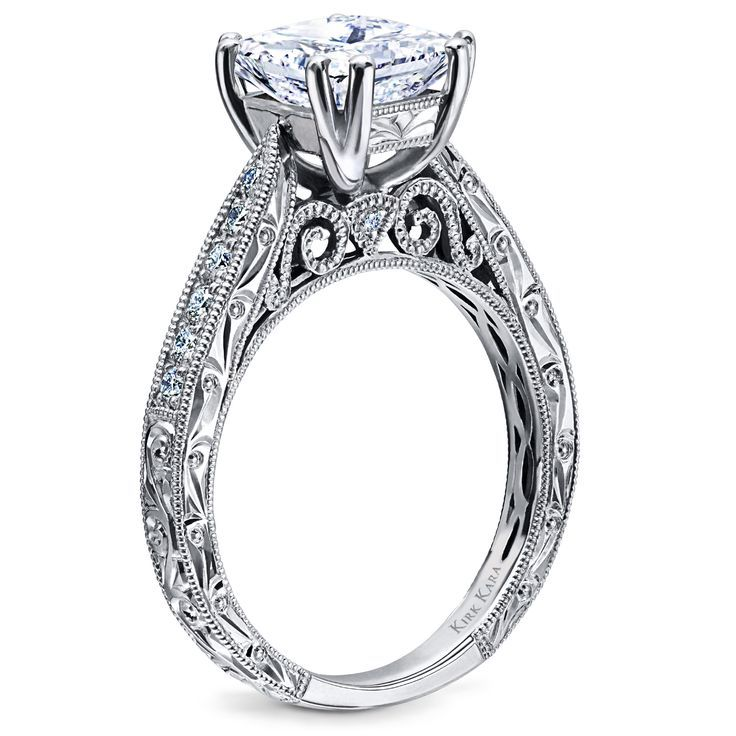 Kirk Kara Hand Engraved Engagement Ring From The Stella Collection |  Detailed Engagement Ring | Princess