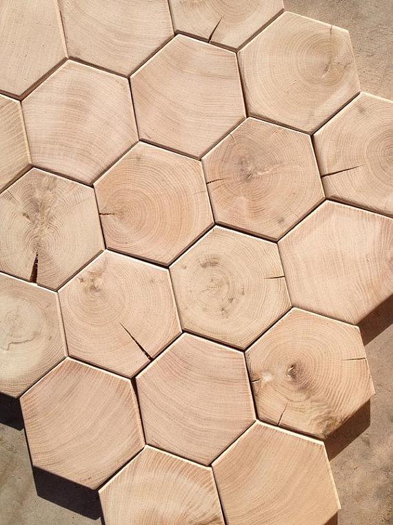 Hexagon End Grain Hardwood Flooring Mosaic Blocks 500 Square Foot