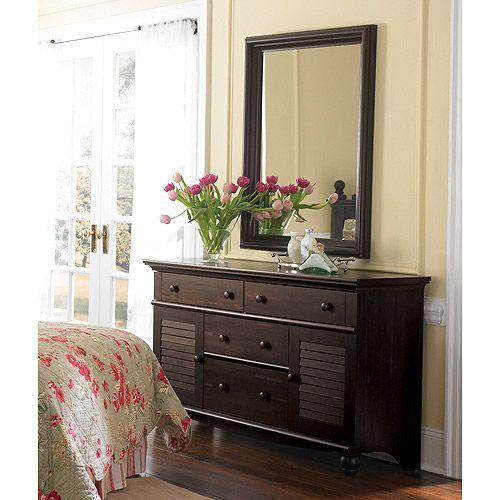 Sauder Harbor View Dresser And Mirror, Antiqued Paint: Furniture :  Walmart.com