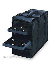 """Aluminum Rolling Travel Jewelry Sales Case  15 1//2/""""  With 12 Trays And Inserts"""