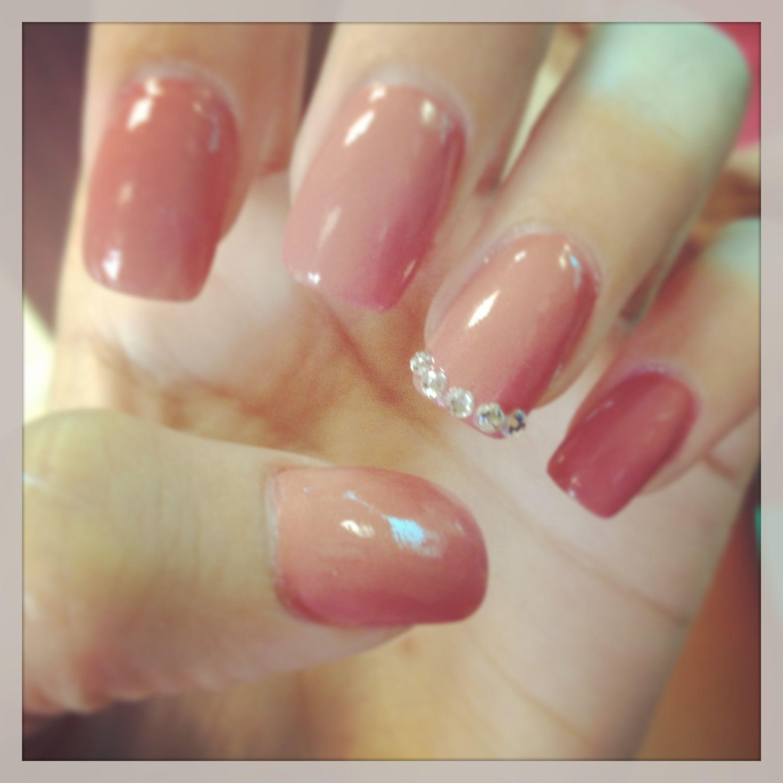 Cute classy acrylic nails with diamond studs | Nails ...