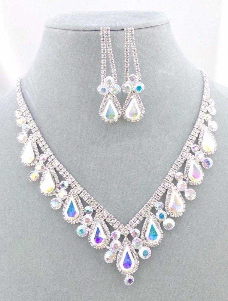 88961e7a79bdb Silver With AB Crystal Rhinestone Necklace Set Tear Fashion Jewelry ...