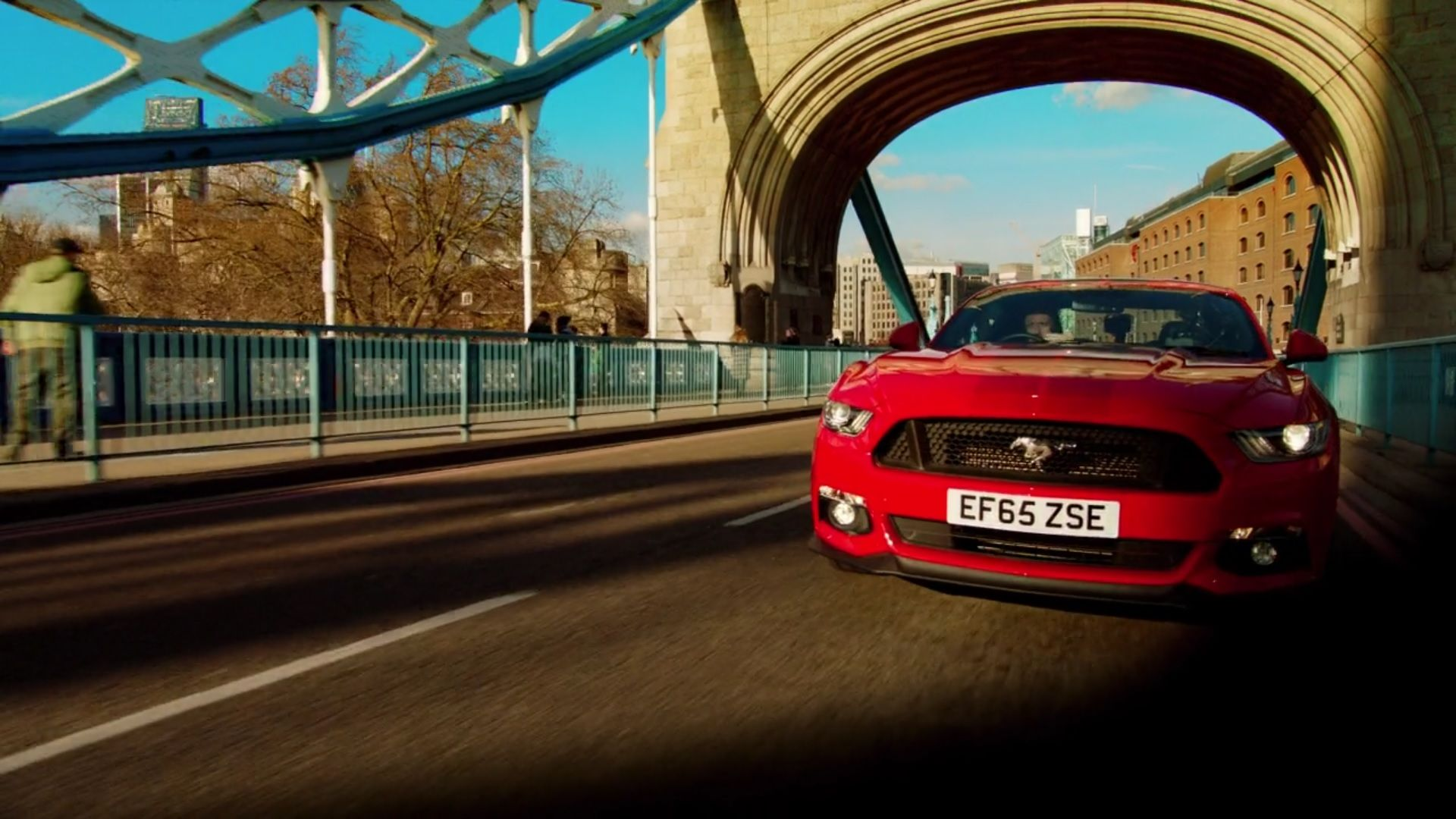 Right hand drive ford mustang on tower bridge london england jeremy clarkson