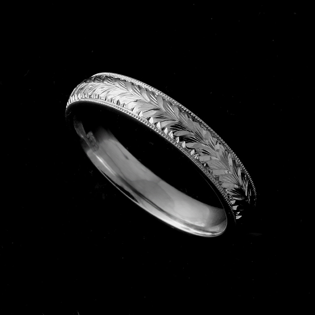 Platinum Wheat Pattern Engraved Women's Wedding Ring