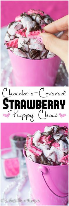 Chocolate-Covered Strawberry Puppy Chow Chocolate Covered Strawberry Puppy Chow | A baJillian Recipes