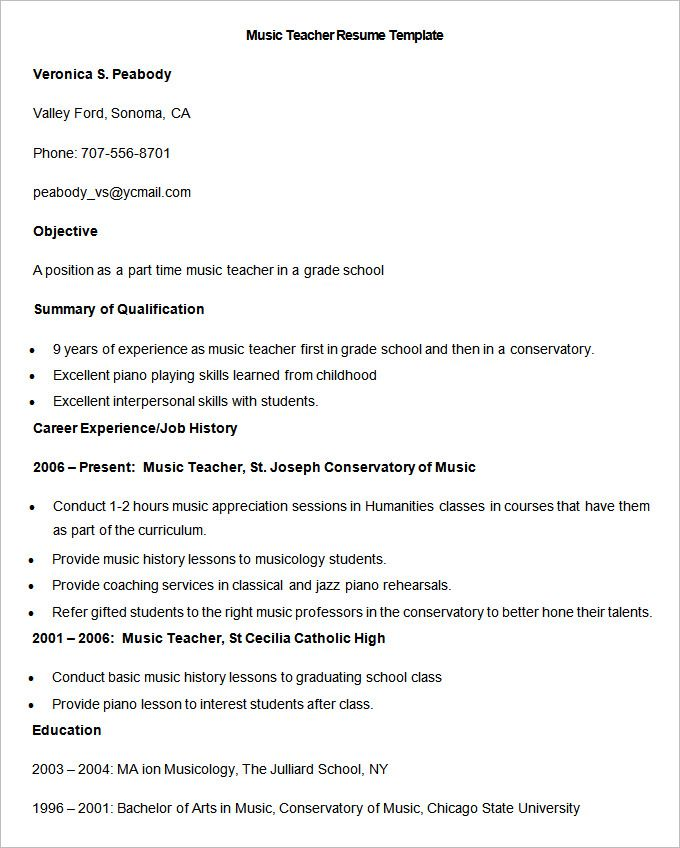 Sample Music Teacher Resume Template , How to Make a Good Teacher - sample tutor resume template