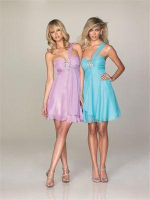 Short One Shoulder Beaded Applique Chiffon Prom Dress PD10540