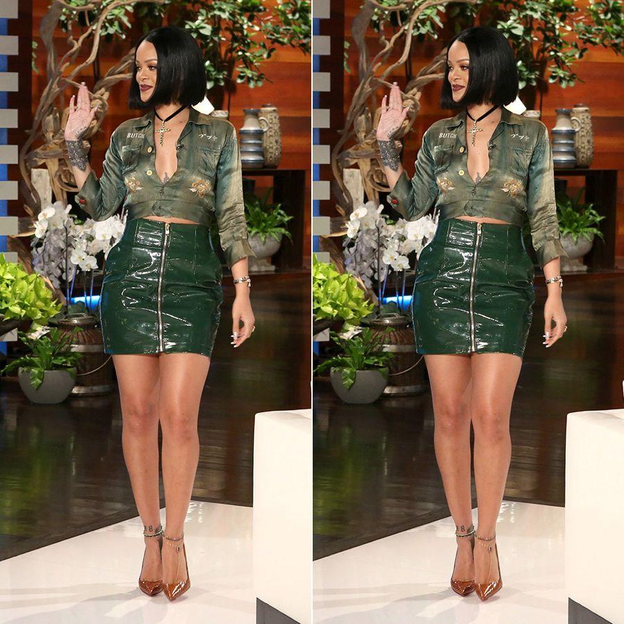 Rihanna Alexandre Vauthier green leather skirt, Christian ...