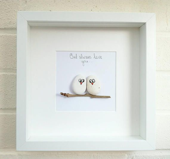 Art Picture Owls Anniversary Wedding Engagement Framed Gift Idea For Her Home Decor Beautiful pebble art framed and handmade. Each one of my pebble art designs will make a fabulous and unusual gift for anyone. I can personalise with a few words if you wish and will be hand written in ink. Approx measurements.. Frame 23 x 23cm Mounte