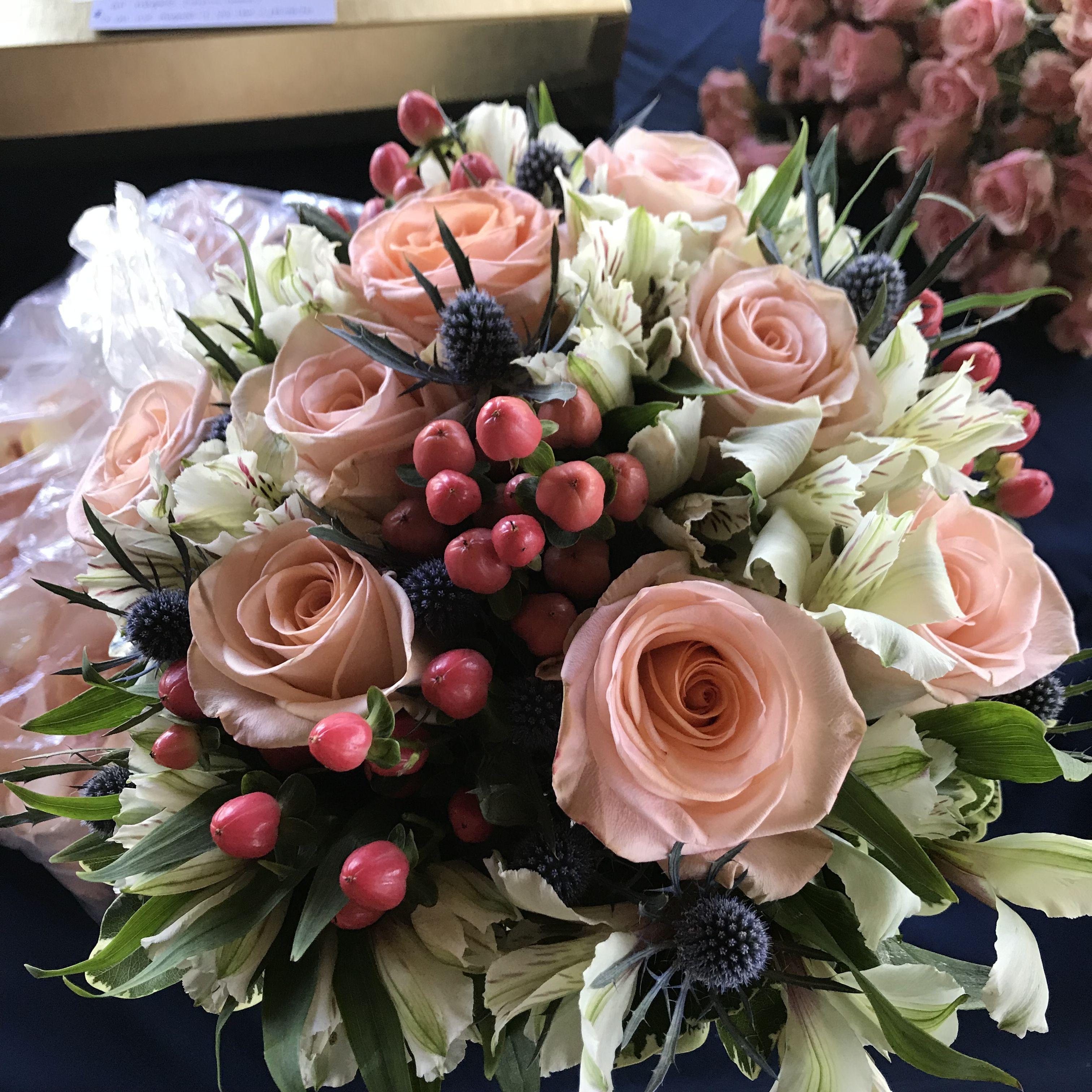 Peach And Blue Wedding Flowers