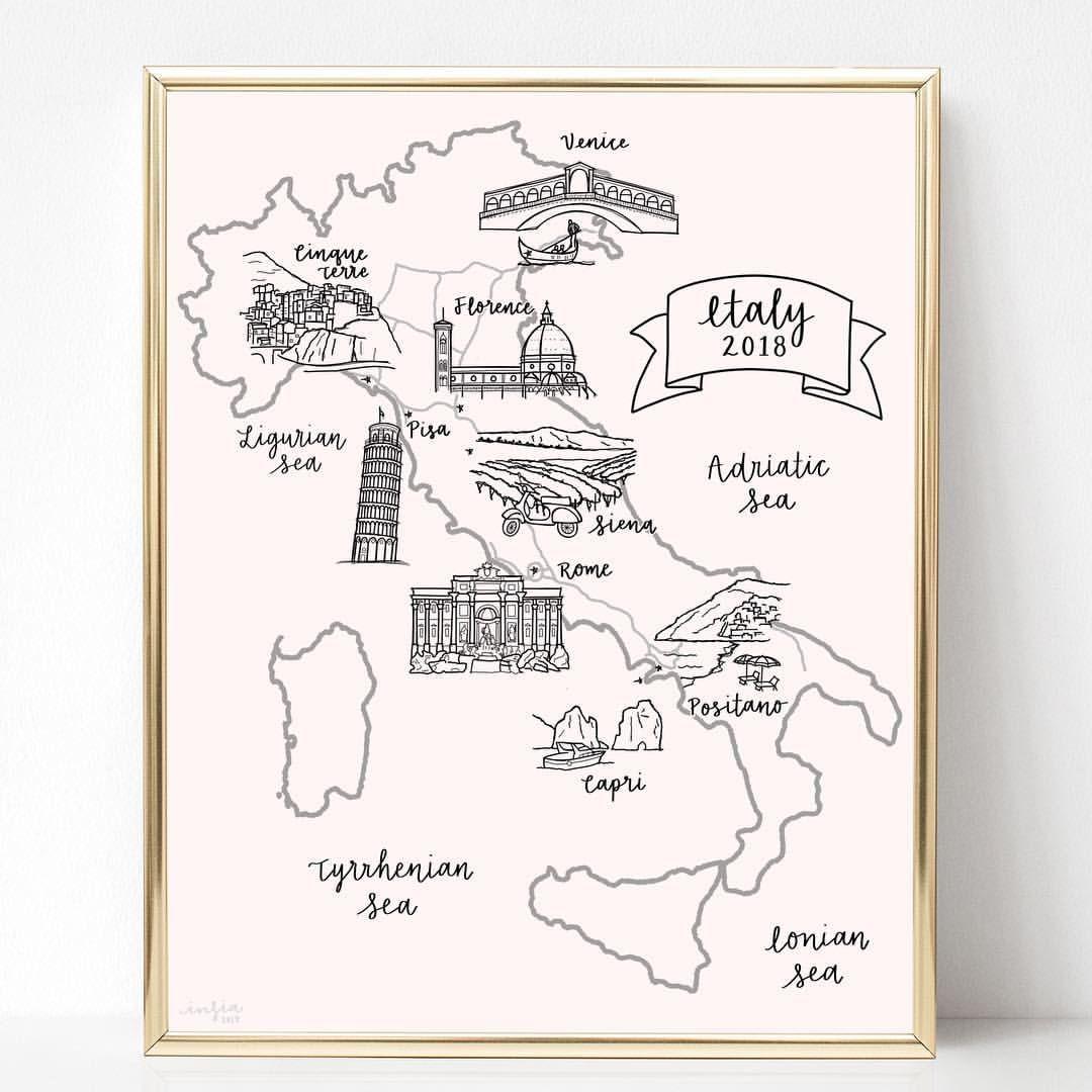 Custom Italy Vacation Travel Map Digitally Hand Drawn And