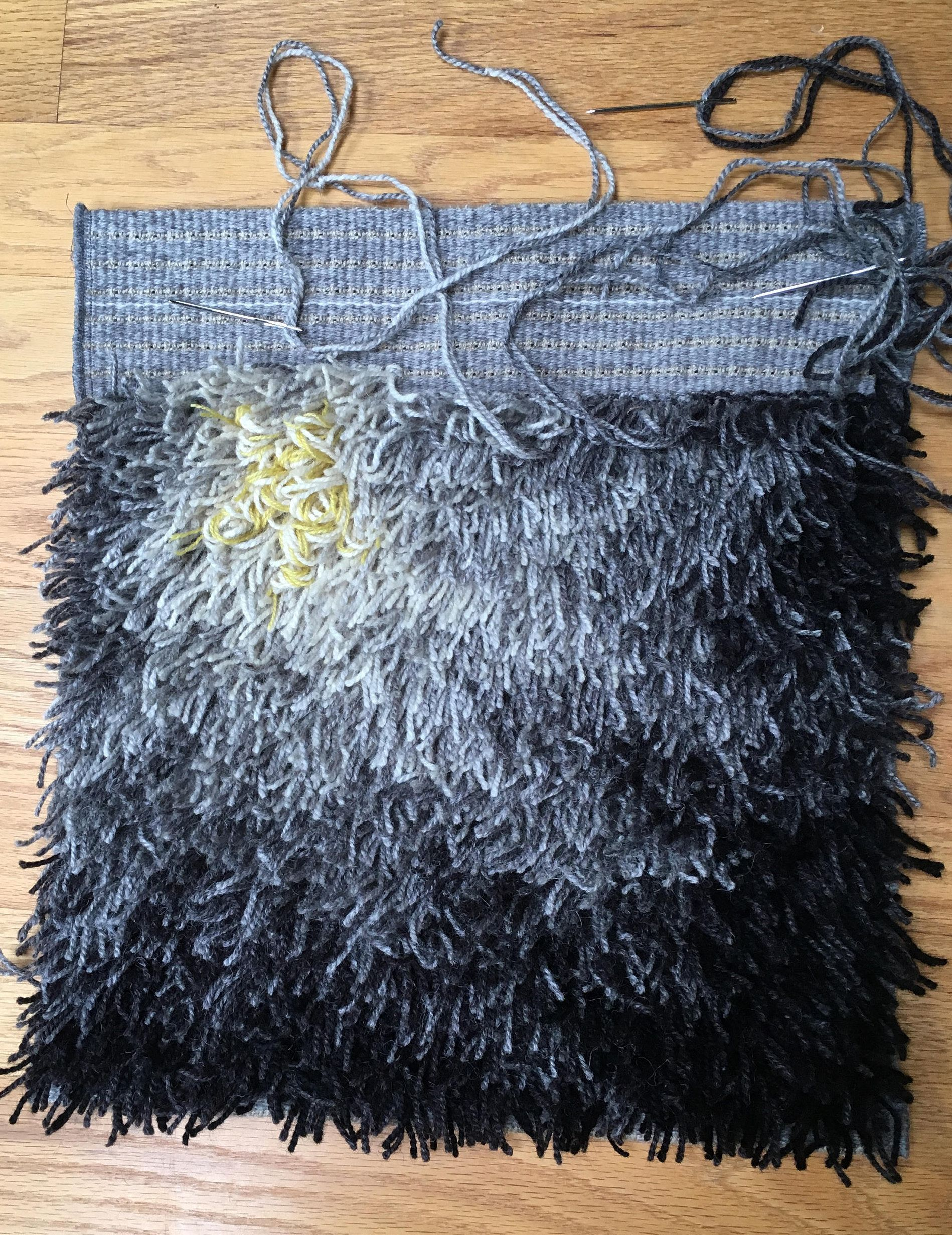 New Fireflower Rya Kit 16 X Natural Grays Virgin Wool Yarn On And Linen Backing With Pattern Drawn The For You By Byrdcall