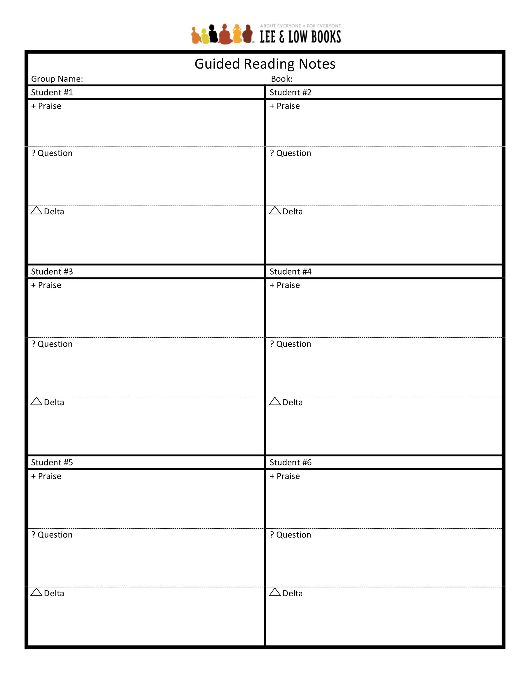 guided reading notes template common core curriculum