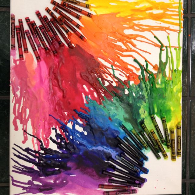 Crayon Art Melted Warm Colors Down The Board With Blow Dryer