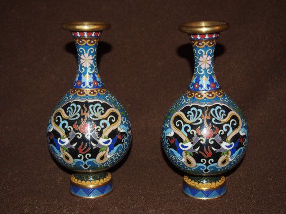 Pair Chinese Cloisonne Vases Vintage Collectable Vintage