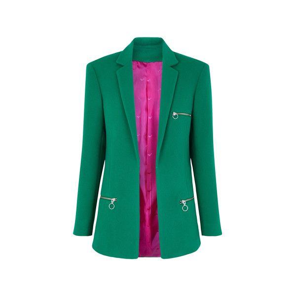 BIMBA JACKET davidelfin (24 870 UAH) ❤ liked on Polyvore featuring outerwear, jackets, davidelfin and green jacket