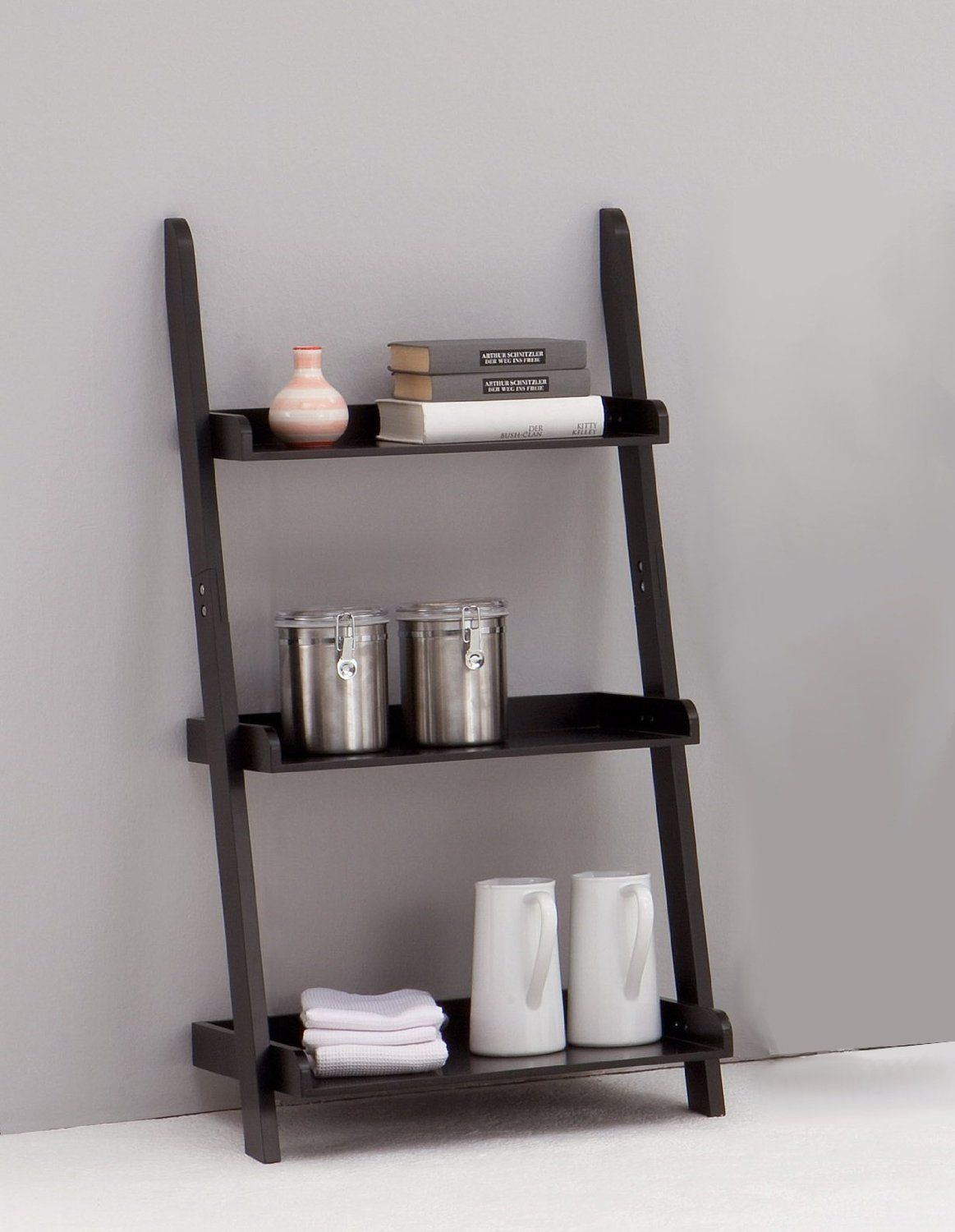 Leitern Black 3-tiered Ladder Shelf Bookcase Display Unit