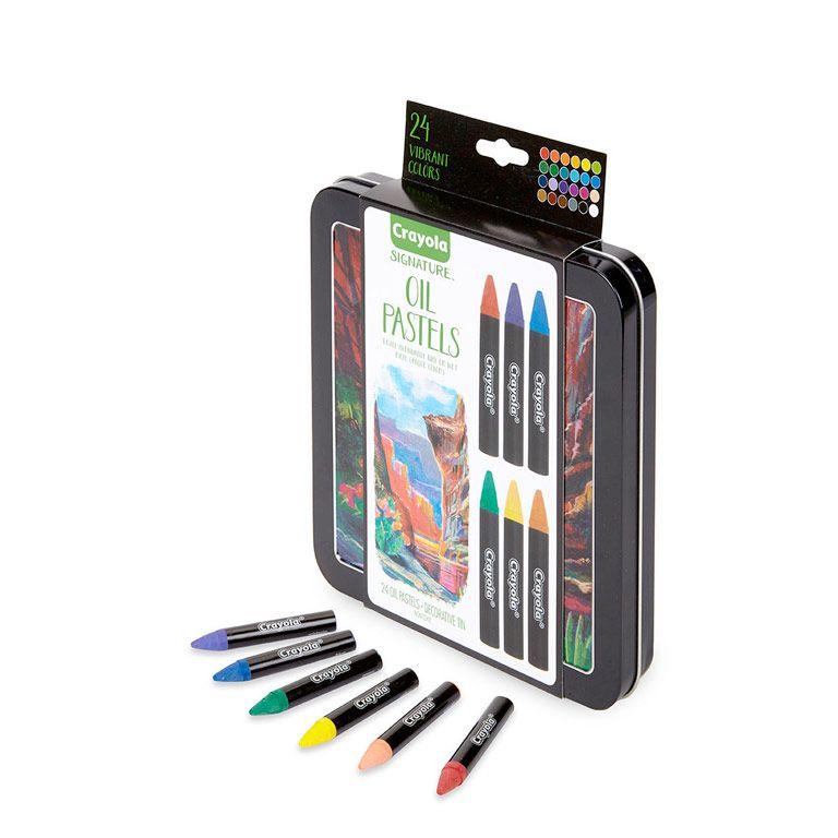 Signature Oil Pastels 24 Ct Water Soluble Storage Tin Premium