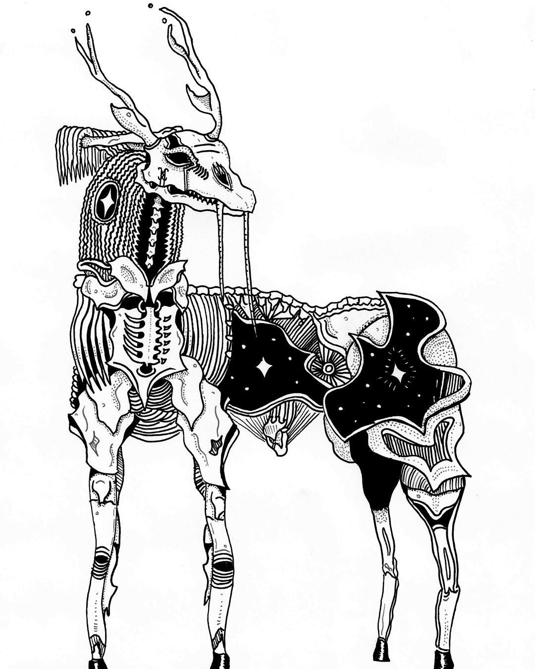 Spirit Antler #blackwork #blackworktattoo #antler #deer #spirit #occult #stars #walross #skull #art #design #illustration #munich #beast #cosmic #hexvessel #beingasanocean #hunterswillbehunted #wildlife #forestlife #atmosphericblackmetal #blackmetal