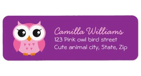 cute owl purple label