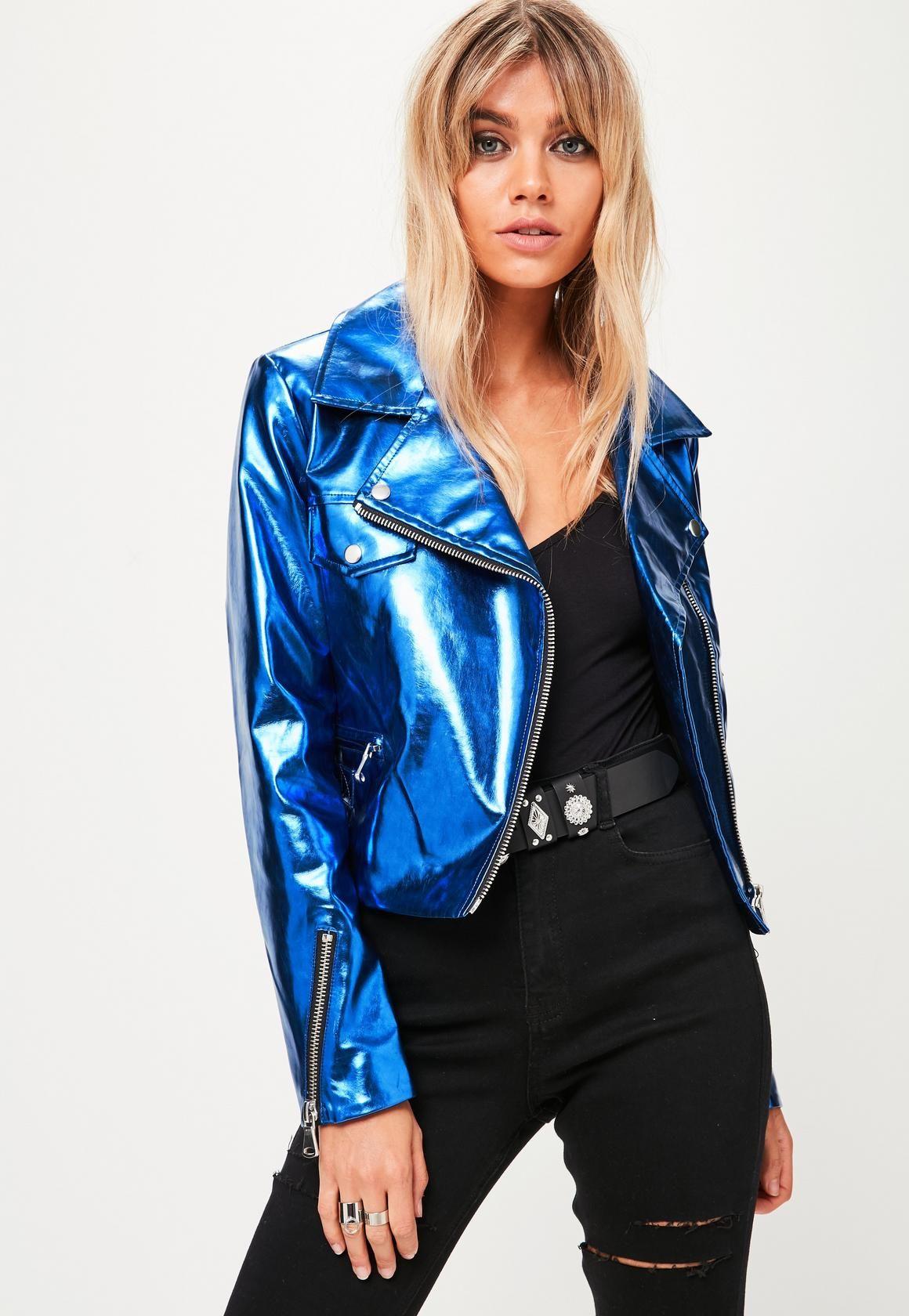 Missguided - Blue Metallic Biker Jacket  6ba437fd46c