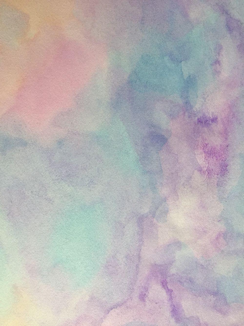 Watercolor pastel sky iPhone wallpaper by flowerpowerart