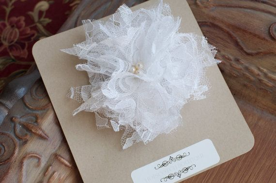 White Lace Shabby Chic Hand Made Flower f