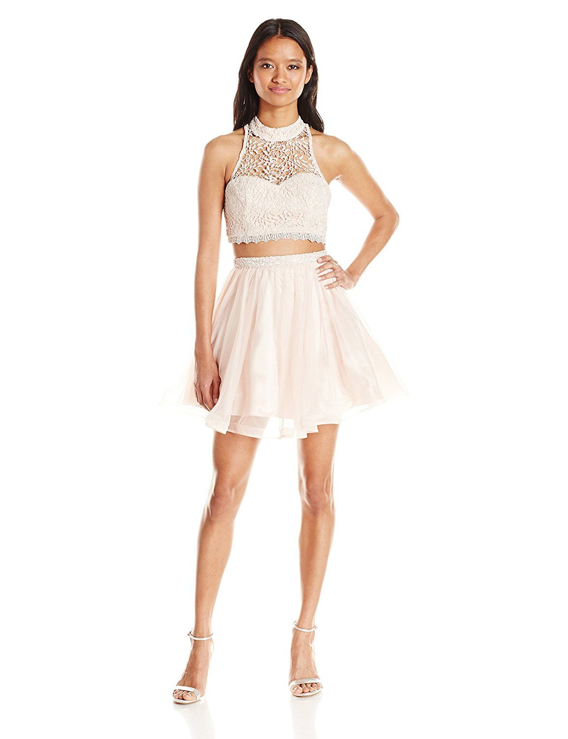 2ae4cb3c058c01 Amazon.com  Sequin Hearts by My Michelle Junior s Two Piece Short Prom Dress  with Tulle Skirt and Lace Top  Clothing