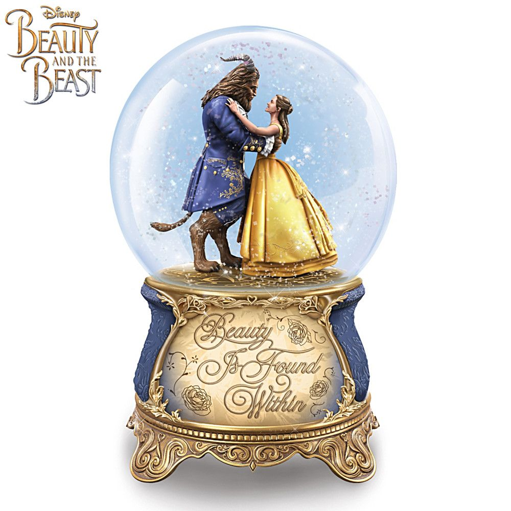 Plays Music Sculpted Figures Of Belle And The Beast With More Characters Rotating Around The Base Disney Beauty And The Beast Rotating Musical Glitter Globe
