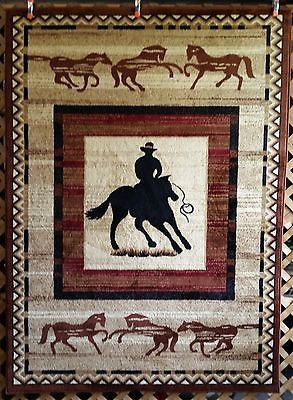 6x8 5x7 Brown Country Western Horse Cowboy Roper Rustic Rodeo Area Rug Carpet
