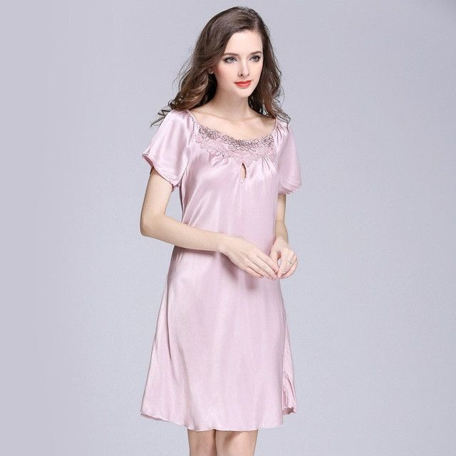 SpaRogerss Silky Women Nightgowns Summer Faux Silk Ladies Sleep ...