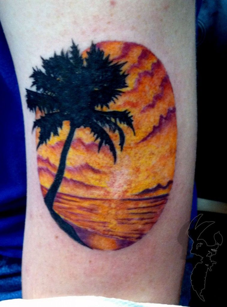 Beach tattoo designs beach sunset sleeve tattoos image for Beach sunset tattoos