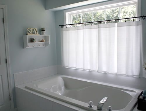 i have a window just like this in my master bath these curtains look perfect for privacy and style pottery barn - Bathroom Window Treatments