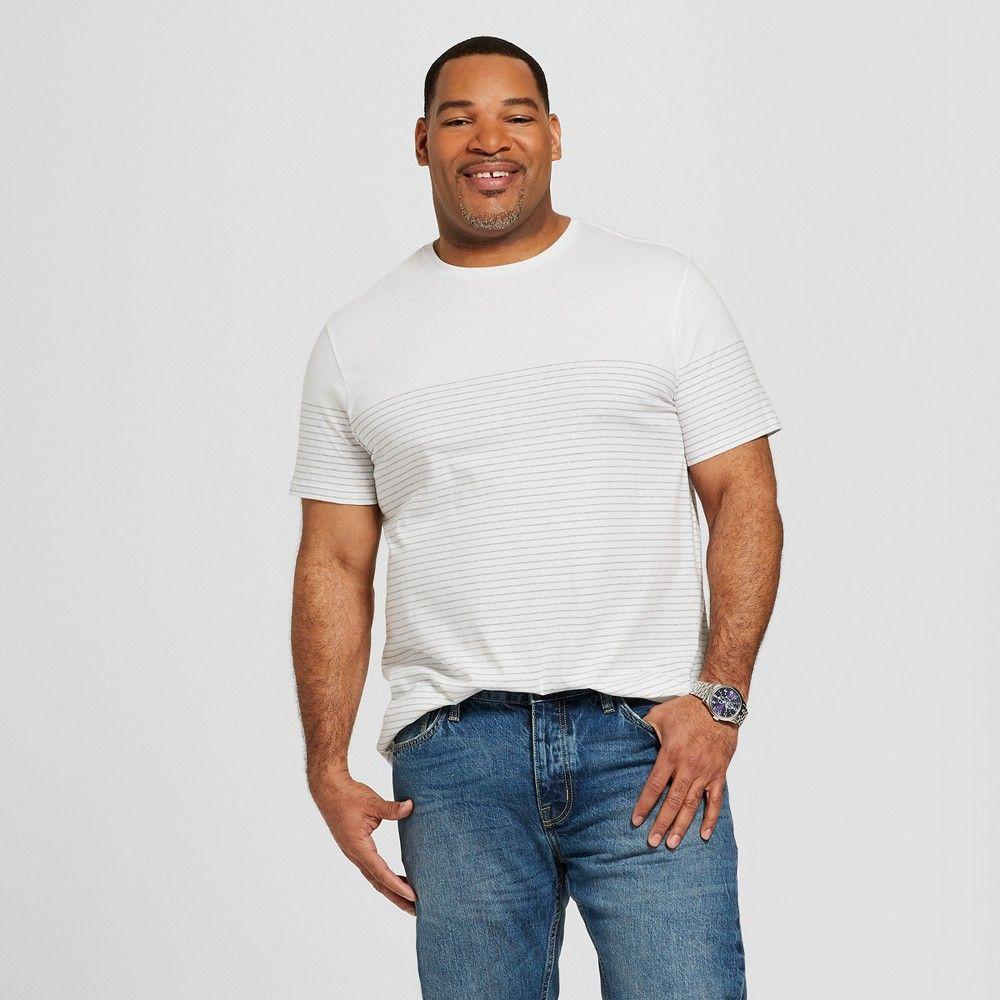 53b80be992f6e Men s Big   Tall Striped Short Sleeve Crew Neck Novelty T-Shirt - Goodfellow    Co True White 3XB