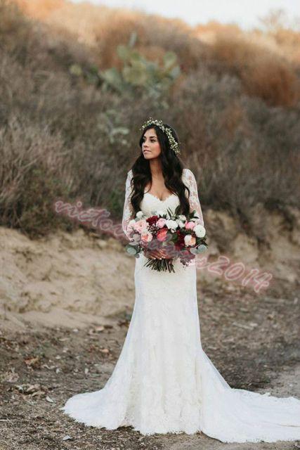 Boho White Ivory Lace Wedding Dress Off The Shoulder Bridal Gown Custom Size New Gaun Perkawinan Gaun Pengantin Sederhana Gaun Pengantin Putri Duyung