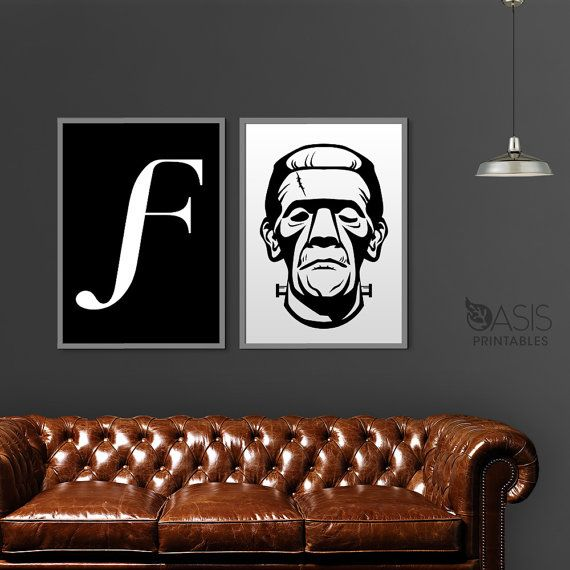 Frankenstein Poster Printable Wall Art, Letter F Printable, Instant Download Files, Black and White Poster Wall Art 8.5 x 11, Resizable PDF