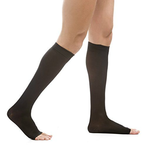 082c596fc35 EvoNation Men s USA Made Open Toe Graduated Compression Socks 20-30 mmHg  Firm Pressure Microfiber Medical Quality Knee High Toeless Support Stockings  Hose ...