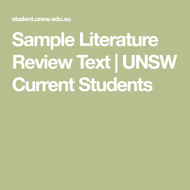 Sample Literature Review Text   UNSW Current Students ...