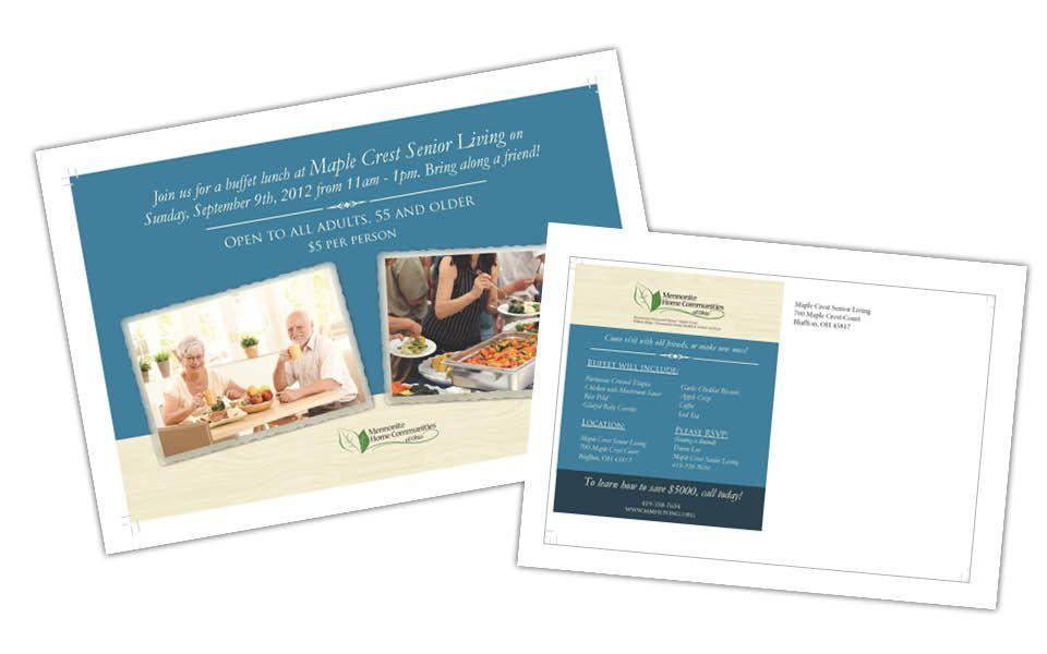 Mennonite Home Communities of Ohio direct mail postcard #branding #printdesign www.ciscoco.com/portfolio