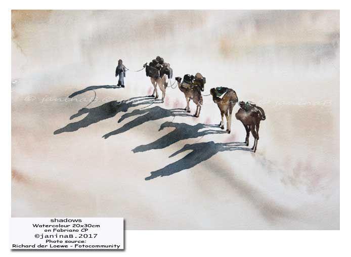 shadows / Watercolour 20x30cm on Fabriano CP © janinaB. 2017
