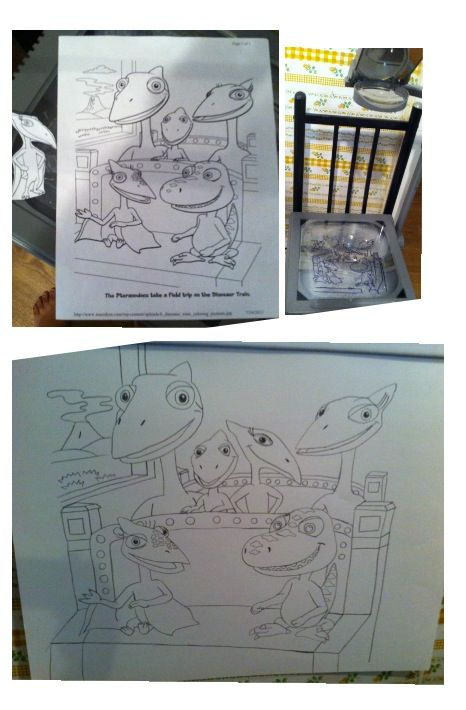 the process of making a dinosaur train poster for my child s