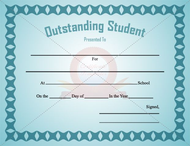 Outstanding Student Certificate Template For Male STUDENT - free perfect attendance certificate template