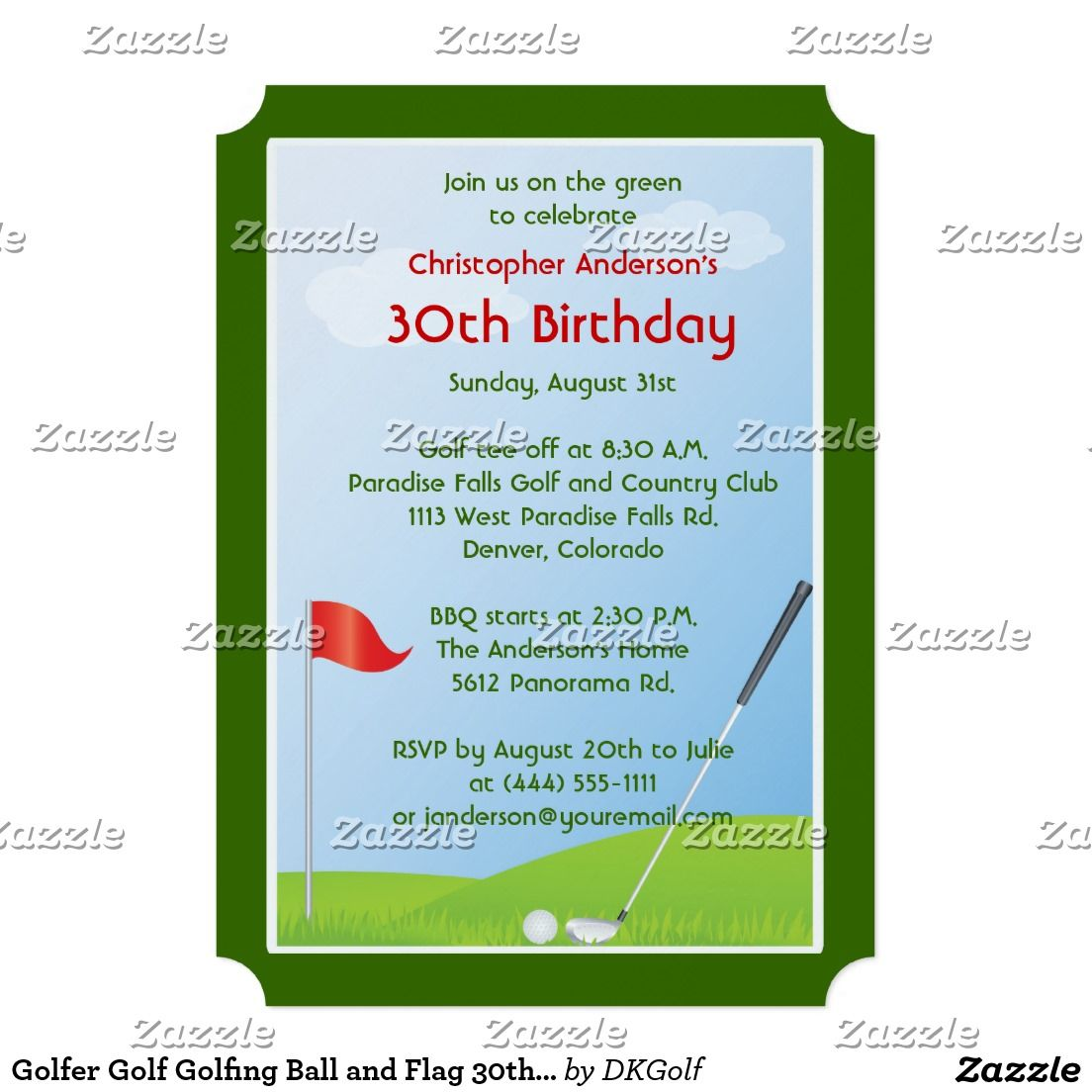 Golfer golf golfing ball and flag th birthday