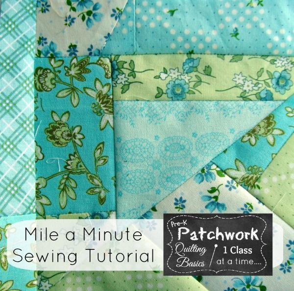 Great idea for girls /boys  quilts or other themes.  Easy way to start blocks for other quilts. How to Sew a Mile a Minute - adding scraps of fabric together - end to end - will make a large piece of usable fabric!