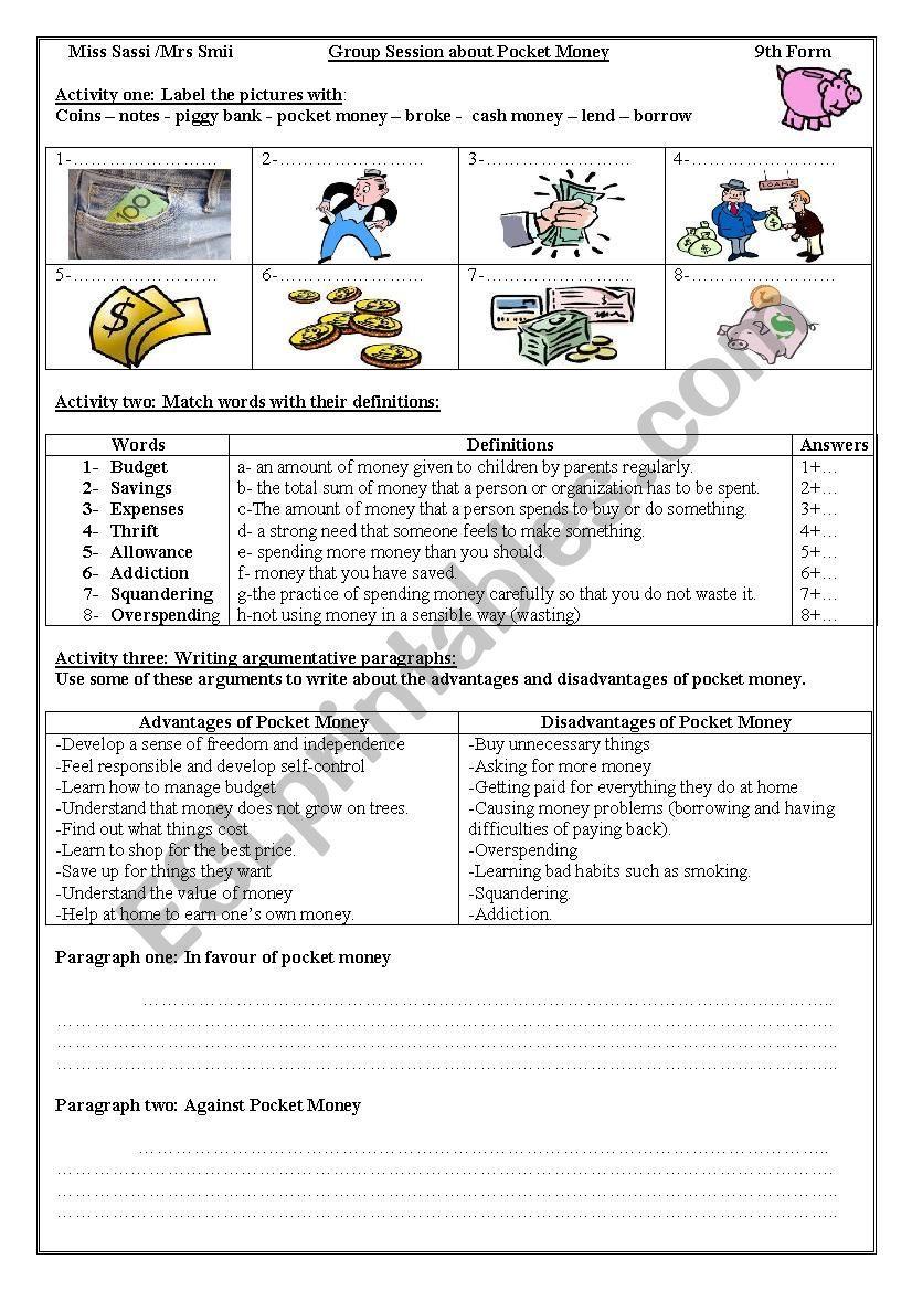 Group Session Pocket Money Worksheet Avec Images Anglais